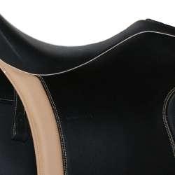 Dressage Andaluz - Farbeispiel schwarz / champagner ohne Ziernaht - Dressursattel auch für kurze Pferde