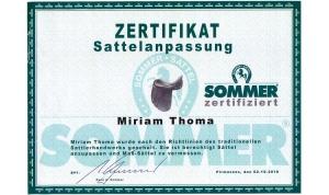 Miriam Thoma, Zertifiziert zur Sattelanpassung