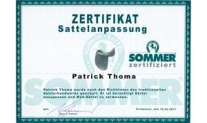 Patrick Thoma, Zertifikat Sattelanpassung
