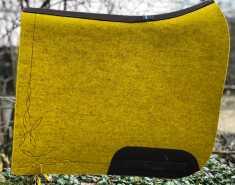 Filzschabracke Gelb - Leder Dunkelbraun